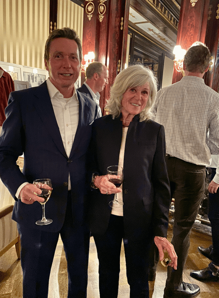 Michael Bassett and Mary Hillard at Troy London party with Rosie Van Cutsem
