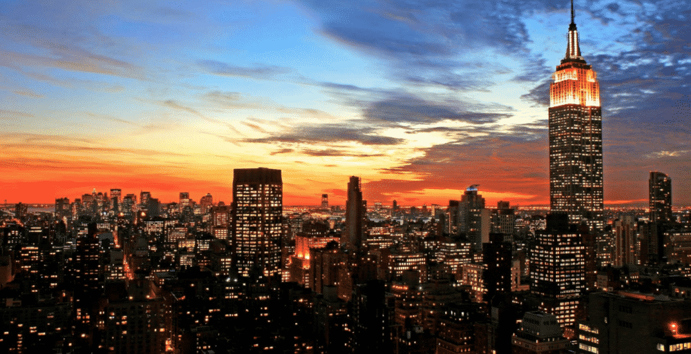 karen klopp answers a fashion question, what to wear in new york city.  this is a photo of the new york city skyline at dusk