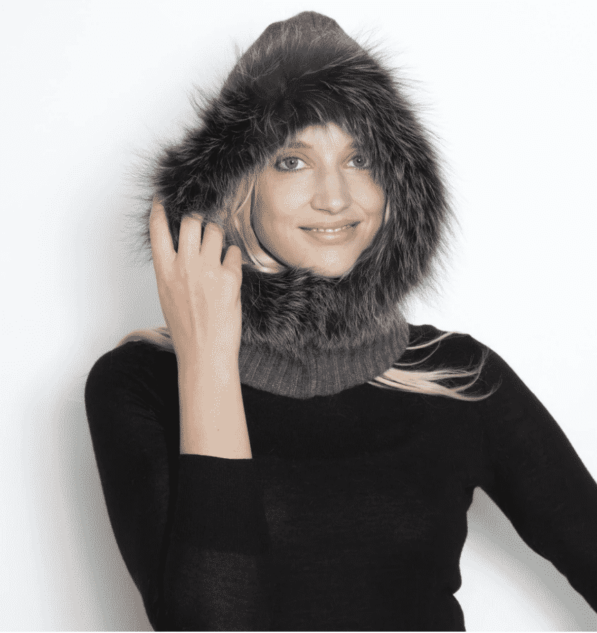 A fur hood, from Glamourpuss NYC, courtney moss