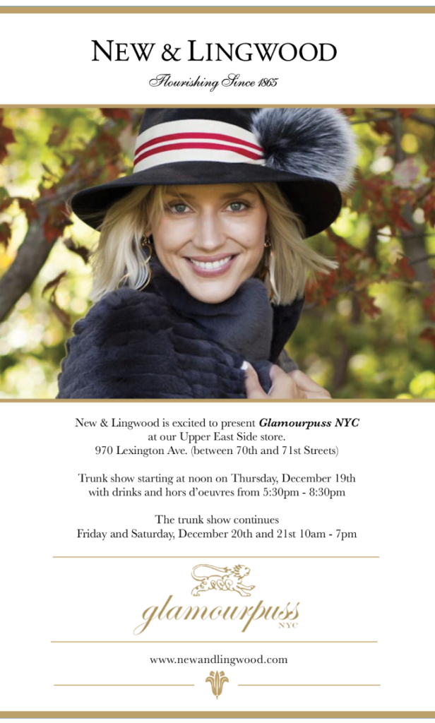 Invitation to Glamourpuss Pop Up Shop at New & Lingwood.   Courtney Moss