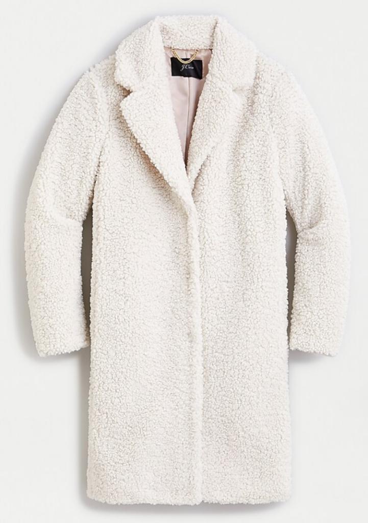 White Sherpa Coat recommended by Karen Klopp Packing for Travel