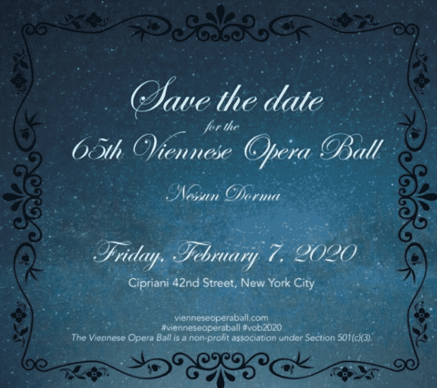 Invitation to the Viennese Opera Ball, New York City 2020