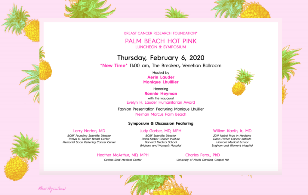 Invitation to breast cancer research foundation, hot pink party at the breakers in palm beach.