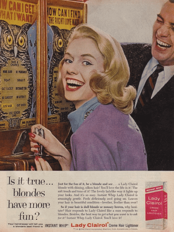 Clairol Advertisement - is it true blondes have more fun.   Karen Klopp shares her favorite Do it Yourself Beauty Items from Amazon.