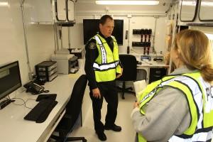 Lt. Keith Wall & Kamala Silva Wolfe in the Command Trailer
