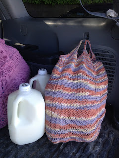 Our neighbor Erica Hernandez creates these crafty grocery bags which can be bought online for $5