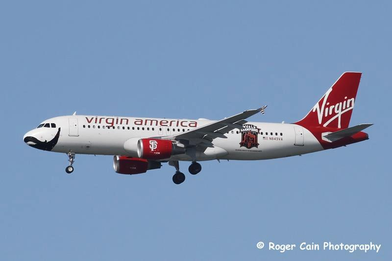 Virgin Airlines with Giants painting