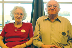 Liliane and Al Kuhn, Holocaust survivors, share their personal history about life during World War II. PHOTO: SMDJ