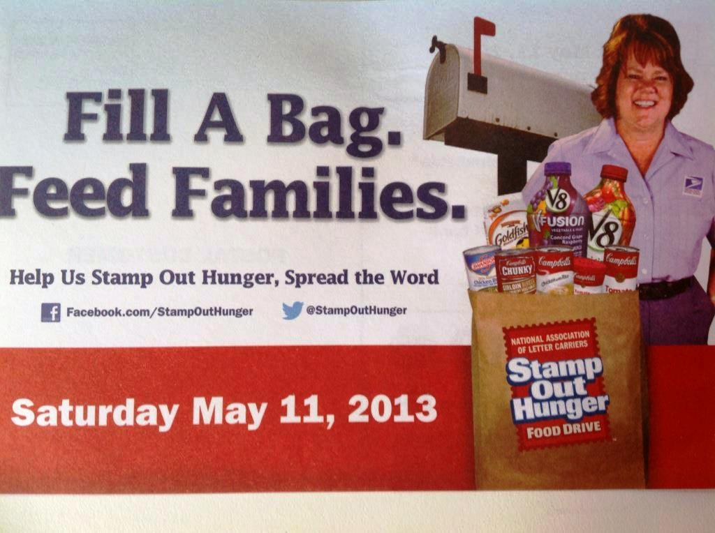 Leave packaged food out by your mailbox on May 11 and our postal workers will pick them up