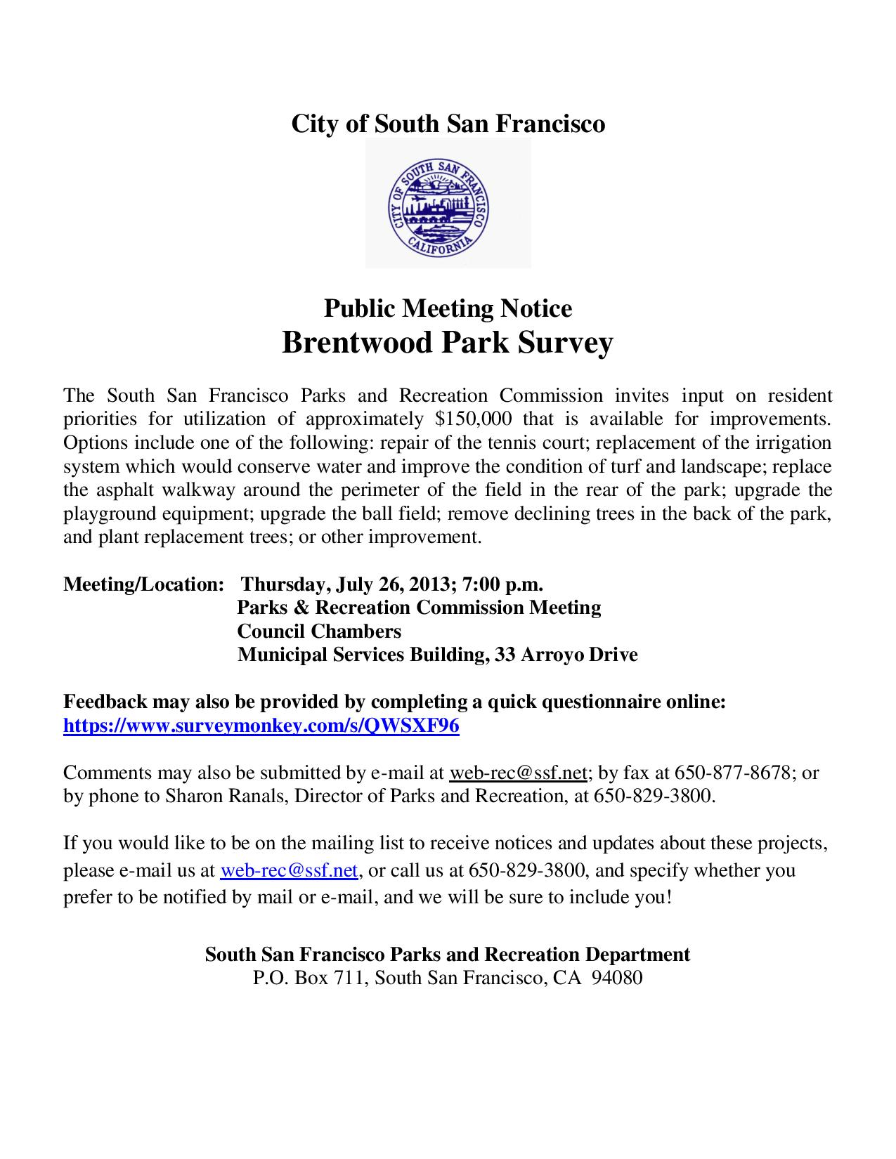 Brentwood Park Park and Recreation Commission Meeting Notice July 2013-page-001