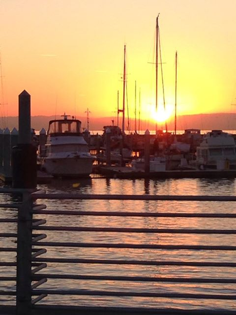 Sunrise at Oyster Point as  Robert Bernardo, SSF resident & SM Co Harbor District Commissioner, commutes to Alameda Photo R Bernardo