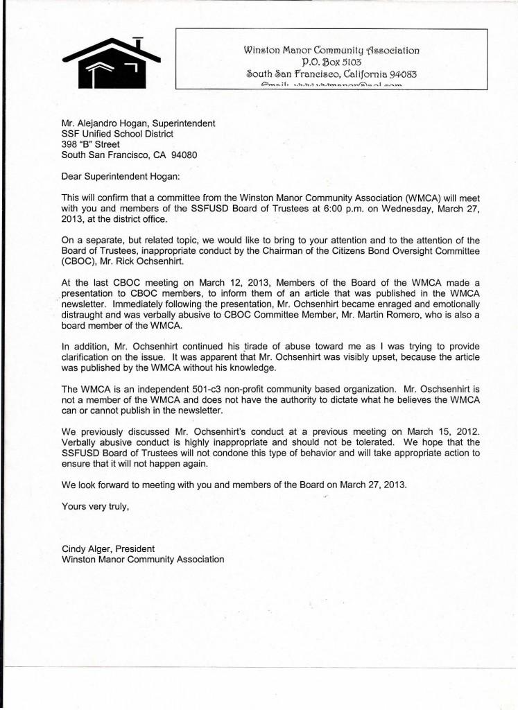 WMCA to Supt Hogan