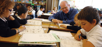 Principal Vince Riener is lauded by parents for his hands-on style at All Souls School in South San Francisco.  Photo: Valerie Schmalz
