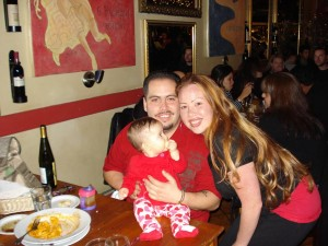 Our little princess warrior Juliana on her first Valentines Day with her mom and dad