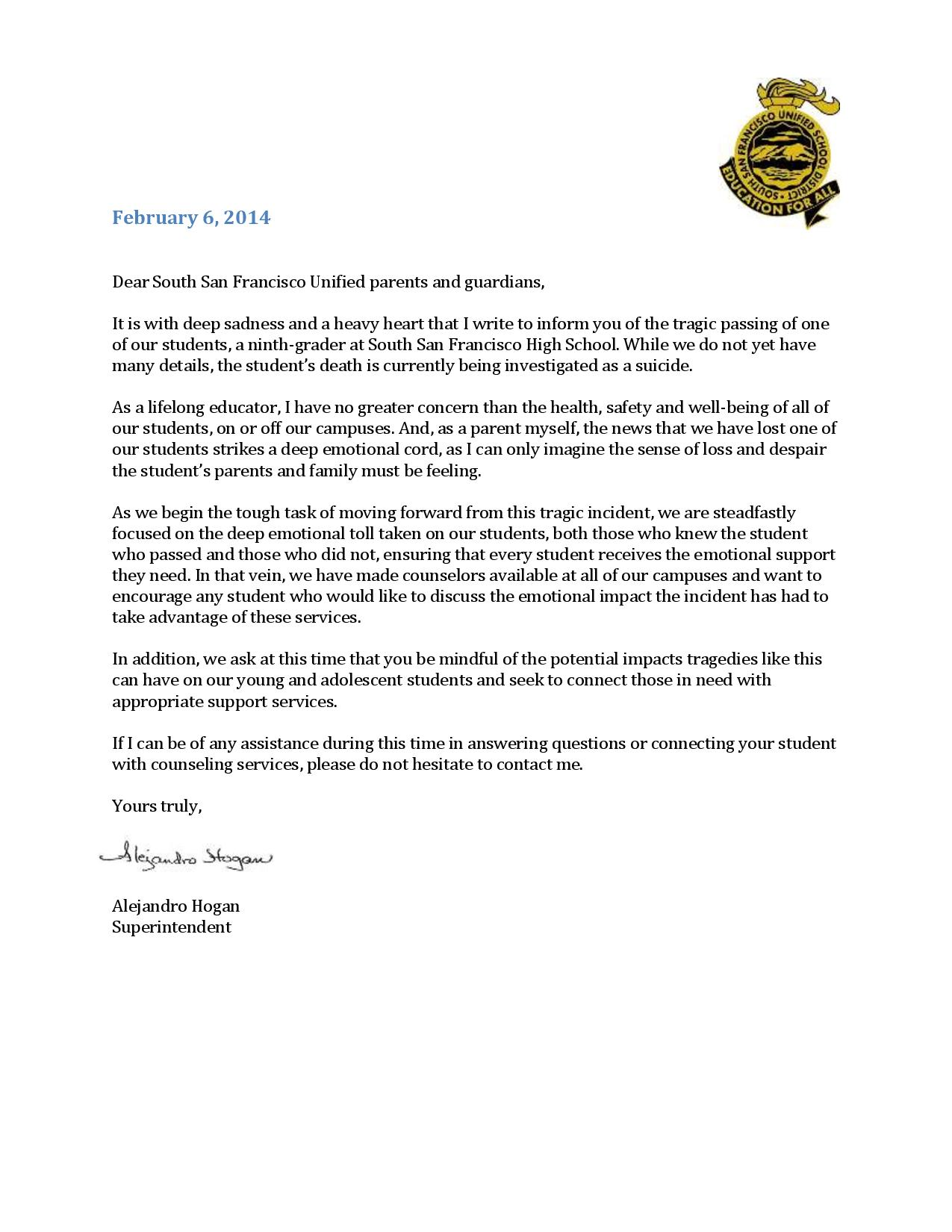 A message from SSFUSD Superintendent Hogan