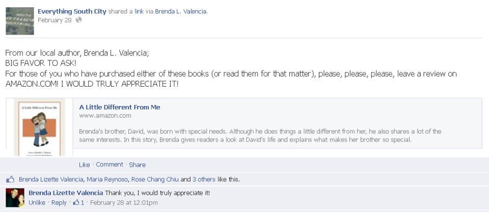Brenda Lizette Valencia book asking for reviews 2.2014