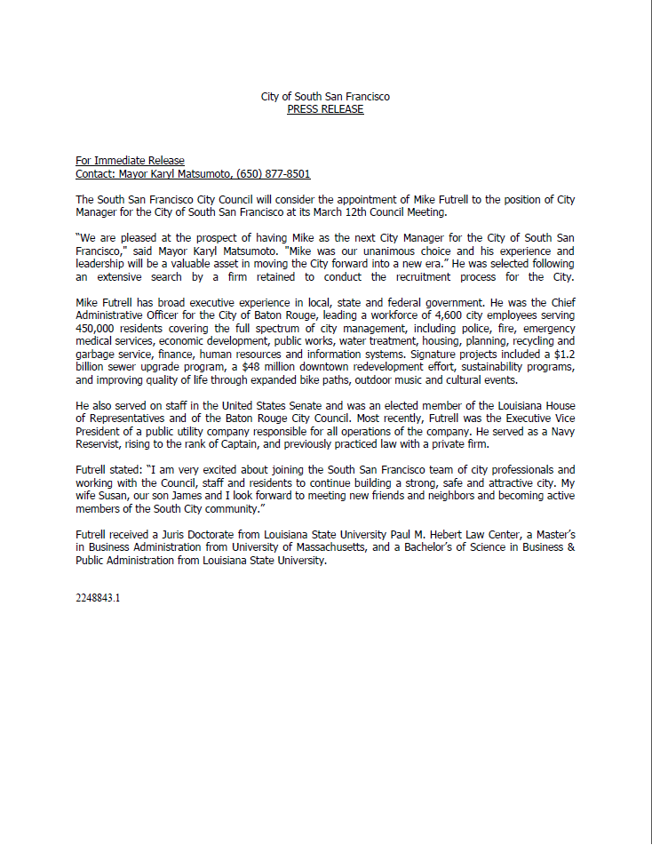 Futrell city manager press release 3.2014