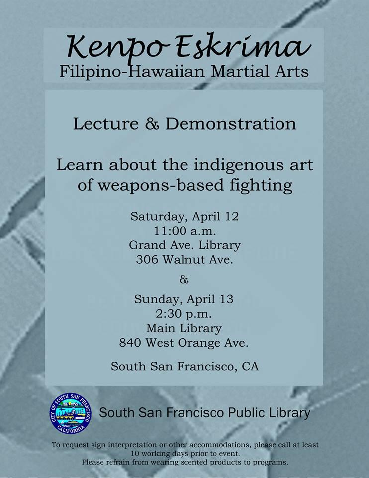 Kenpo Eskrima Martial Arts April 2014
