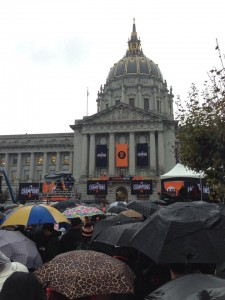 San Francisco City Hall packed with SF Giant Fans hours before the celebration Photo: John Baker