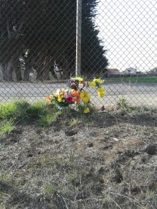 Flowers left in honor of Oliver 'Oli' Oliveros  Photo: Brandi Nunziati