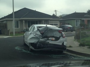 Here is one poor victims car from last night. Terrible! -Andrew Maso