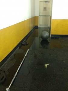 The storm did substantial damage to Bally's Gym
