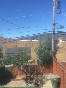 Towering mounds of dirt can be seen from the Alta Mesa construction as shared by Bryan Lynch