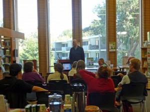 Chris Baty, the founder of Nanowrimo, presents at SSF Library Photo: Elizabeth Nisperos