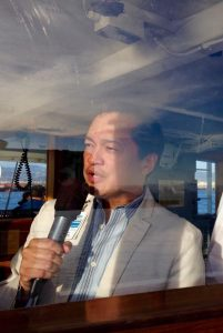 """As part of my day job duties as Communications Manager for the Port, I provide the """"live"""" narration of our free, summer harbor tours. = Robert Bernardo"""