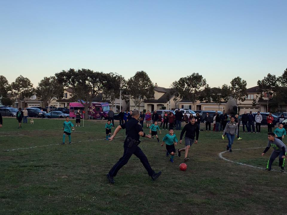 """""""SSF United Youth Soccer League Rec Parade! Thank you to the South San Francisco Police Department for Scrimmaging with our kids, all our teams and the Burlingame Dragons for supporting the kids!"""" Sebastian Falko"""