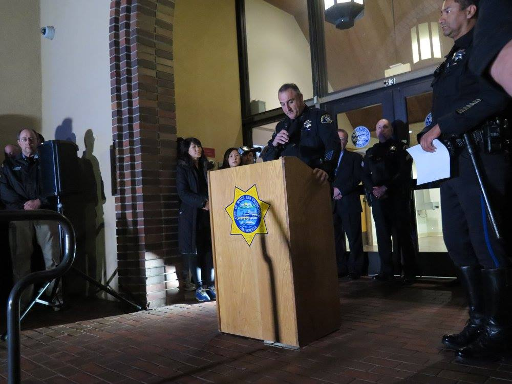 SSFPD Chief Jeff Azzopardi spoke to those in attendance at the vigil Photo: SSFPD