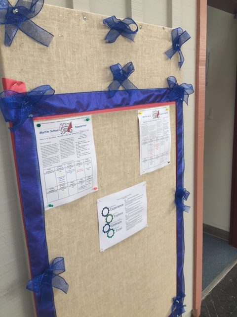 Martin School PTA created bulletins in support of Officer Chon's recovery which stand in the entrance hallway Photo:Jonathan Covacha, Principal Martin Elementary School