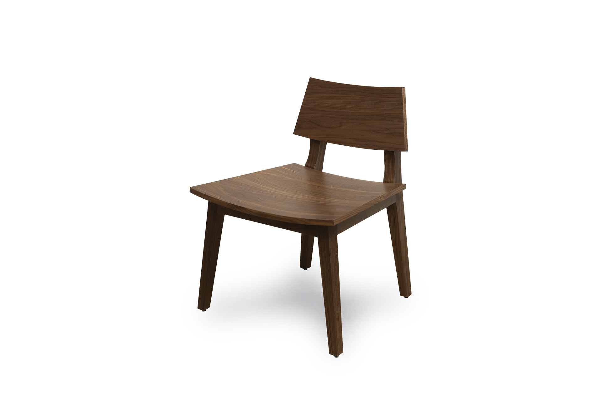 Front side view of Wilshire Wood Chair in Solid Walnut