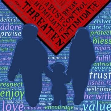 Online Domestic Violence Training - Image of Family with Word Cloud