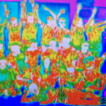 6th Grade Class through the lens of a thermal imager.