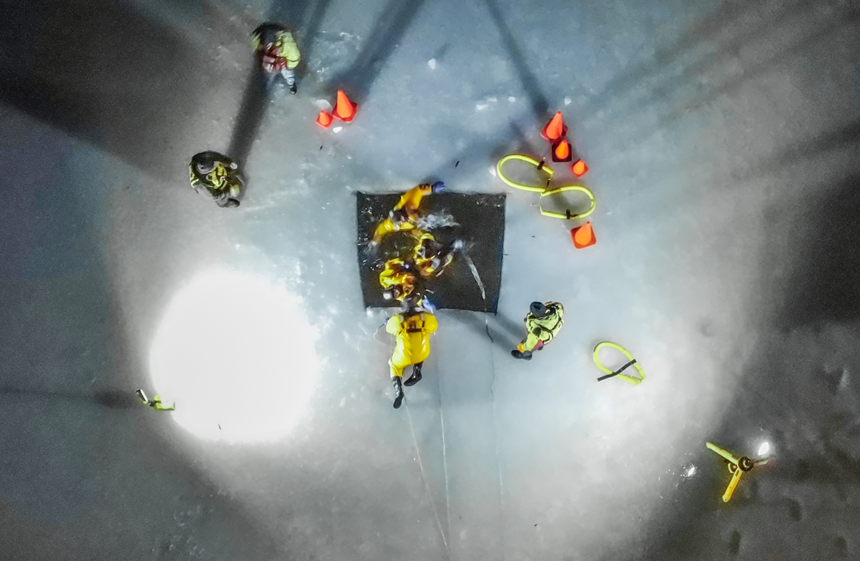 Ice water rescue training at the D.A.R. in Goshen