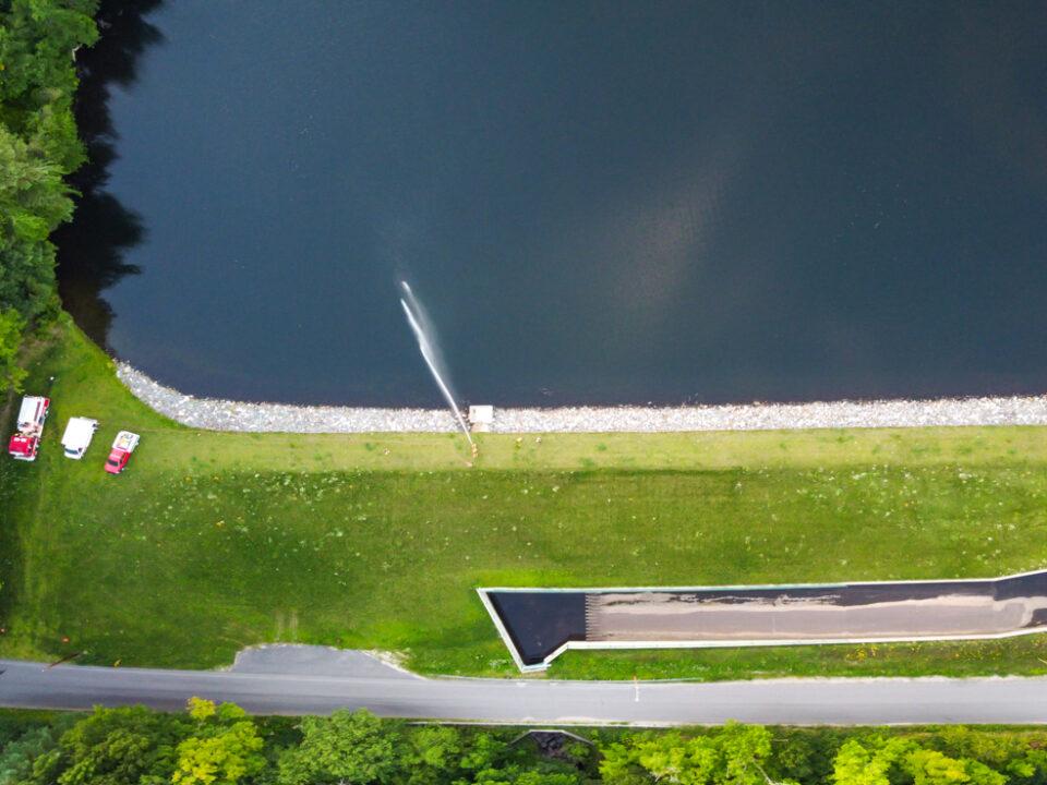 Pump drill at Lower Highland Lake dam