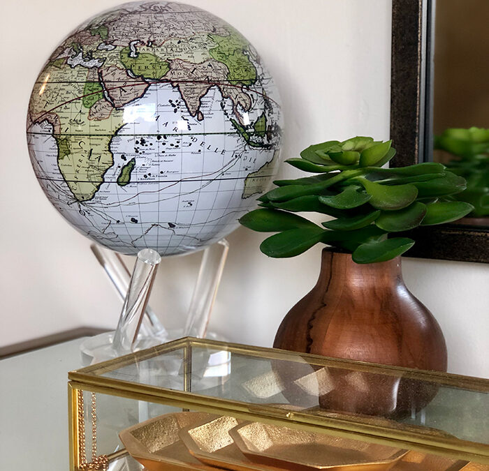 Travel - a small token placed with intention can go a long way. This MOVA globe on a make up table in a Master bath is all you need to get your travel chi flowing!