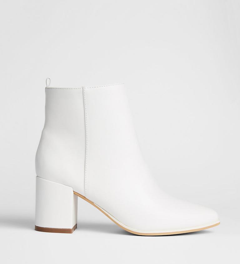 White Thick Heel