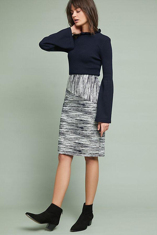 Jacquard Stripe Pencil Skirt