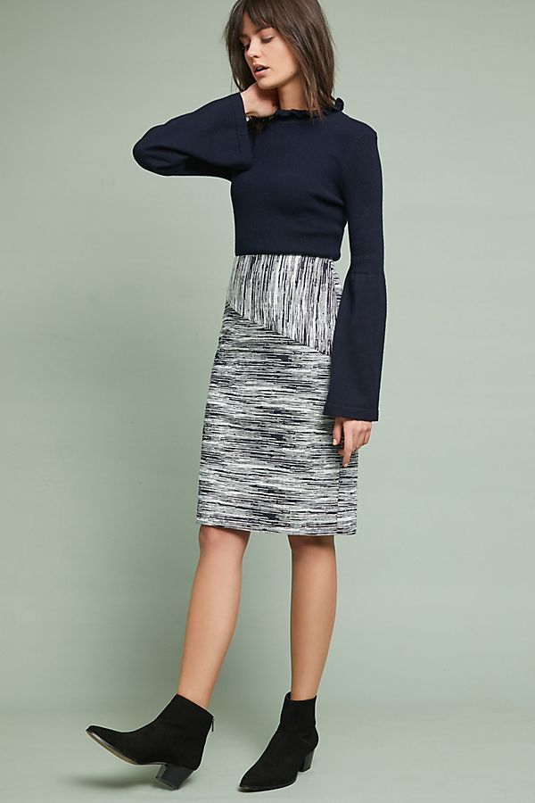Jacquard Stripe Pencil Skirt