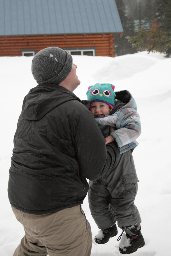 Izzy in the snow with Daddy-A sweet adventure