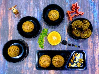 Eggless Whole Wheat Fruit Plum Cake Muffins