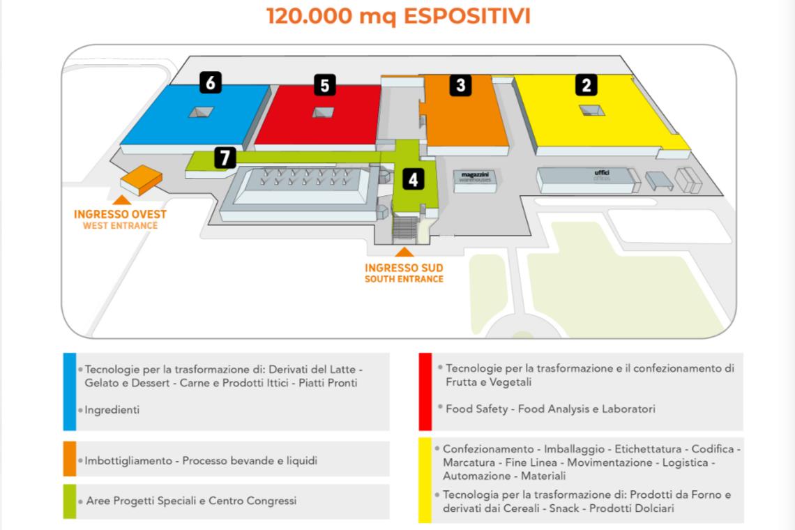 Mappa quartiere espositivo Cibus Tec 2019