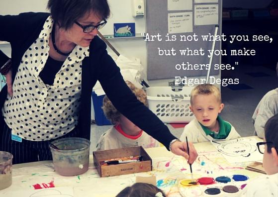 Dawn Papineau teaches a Kindergarten art class
