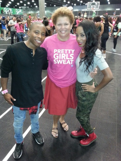 Actors Carlon Jeffery and Imani Hakim pose for a photo with CEO of BET, Debra Lee at the Pretty Girls Sweat event on Sunday, June 29th at the Los Angeles Convention Center during the 2014 BET Experience.