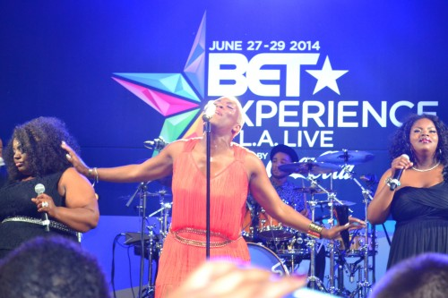 Liv Warfield performing at BET Experience in Los Angeles.