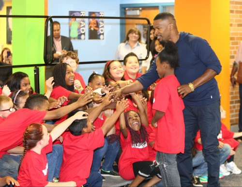 Minneapolis, MN Ð September 10, 2014: Jamie Foxx from Columbia Pictures' ANNIE at the Minneapolis Turnaround Arts Event at Northport Elementary in Brooklyn Park.