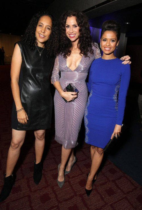 """EXCLUSIVE - Director/Writer Gina Prince-Bythewood, Minnie Driver and Gugu Mbatha-Raw attend the premiere for Relativity Studios' and BET Studios' """"Beyond the Lights"""" held at the Arclight Hollywood theater on Wednesday, Nov 12, 2014, in Los Angeles. (Photo by Eric Charbonneau/Invision for Relativity Studios/AP Images)"""