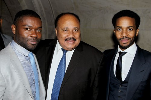 """New York Premiere of """"SELMA"""" - After Party. The Film Stars David Oyelowo, Oprah Winfrey, Carmen Ejogo, Tom Wilkinson and was Directed by Ava DuVernay. -PICTURED: David Oyelowo, Martin Luther King lll, Andre Holland -PHOTO by: Marion Curtis/StarPix"""